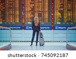 young elegant business woman... | Shutterstock . vector #745092187
