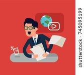 funny news presenter rushing... | Shutterstock .eps vector #745095199