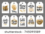 tags with lettering and... | Shutterstock .eps vector #745095589