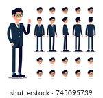 vector flat character sheet... | Shutterstock .eps vector #745095739