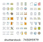 set vector line icons in flat... | Shutterstock .eps vector #745095979