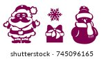 set of christmas decoration on... | Shutterstock .eps vector #745096165