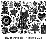 doodles christmas elements.... | Shutterstock .eps vector #745096225