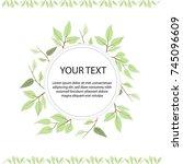 circle frame  green leaves on... | Shutterstock .eps vector #745096609