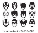 vector cartoon hero masks... | Shutterstock .eps vector #745104685