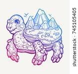 a huge tortoise  on a shell of...   Shutterstock .eps vector #745105405