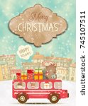 merry christmas greeting card   ... | Shutterstock .eps vector #745107511