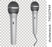realistic silver microphone... | Shutterstock .eps vector #745107949