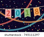 2018. happy new year and... | Shutterstock .eps vector #745111297