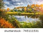 the shokhonka river in plyos in ... | Shutterstock . vector #745111531
