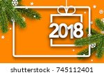 orange 2018 new year background ... | Shutterstock .eps vector #745112401