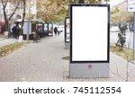 billboard  banner  empty  white ... | Shutterstock . vector #745112554