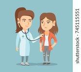 young caucasian doctor... | Shutterstock .eps vector #745115551