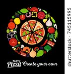 vector pizza illustration with... | Shutterstock .eps vector #745115995