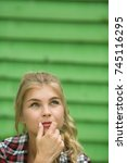 pensive beautiful blonde girl... | Shutterstock . vector #745116295