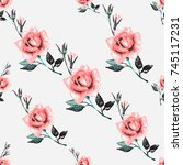 vintage traditional roses...   Shutterstock .eps vector #745117231