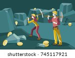male and female miners working... | Shutterstock .eps vector #745117921