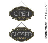 open and closed ornate vintage... | Shutterstock .eps vector #745118677