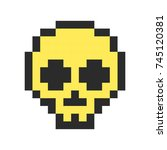 pixel skull pixel art cartoon... | Shutterstock . vector #745120381