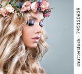 beautiful woman with summer... | Shutterstock . vector #745120639