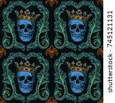 beautiful bohemian damask...   Shutterstock .eps vector #745121131