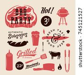 barbecue party retro labels or... | Shutterstock . vector #745121527