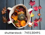 pumpkins  gourds  squashes in a ... | Shutterstock . vector #745130491