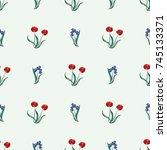 seamless retro 1940s pattern in ... | Shutterstock .eps vector #745133371