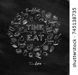 time to eat monogram with food... | Shutterstock .eps vector #745138735