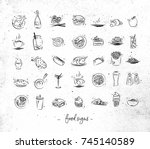 set of food icons drawing with... | Shutterstock .eps vector #745140589