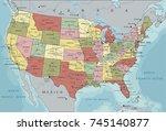 detailed usa political map. | Shutterstock .eps vector #745140877