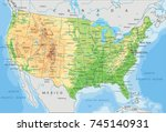detailed usa physical map. | Shutterstock .eps vector #745140931