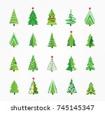 christmas tree set  vector... | Shutterstock .eps vector #745145347