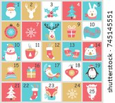 christmas advent calendar with... | Shutterstock .eps vector #745145551