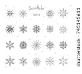 winter set of snowflake icon... | Shutterstock .eps vector #745145611