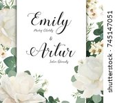 floral wedding invitation save... | Shutterstock .eps vector #745147051