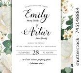 floral wedding invitation save... | Shutterstock .eps vector #745148884