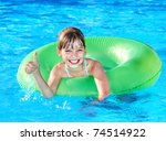 children sitting on inflatable... | Shutterstock . vector #74514922