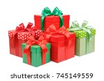 green and red gift box with a... | Shutterstock . vector #745149559