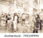 blur cashier long line of... | Shutterstock . vector #745149994