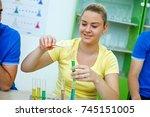 high school students studying... | Shutterstock . vector #745151005