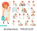 set of shopping women... | Shutterstock .eps vector #745151125