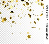 golden falling confetti... | Shutterstock .eps vector #745151521