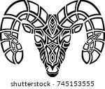 celtic ram head tribal design | Shutterstock .eps vector #745153555