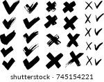 painted brush check mark and... | Shutterstock .eps vector #745154221