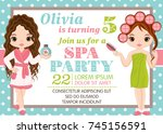 vector card template with cute... | Shutterstock .eps vector #745156591