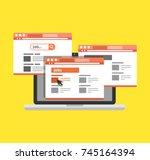 flat design online job search... | Shutterstock .eps vector #745164394