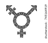 transgender  black ornate ... | Shutterstock .eps vector #745164919
