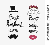 best husband and wife ever word ... | Shutterstock .eps vector #745165345