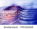 double exposure rows of coins... | Shutterstock . vector #745166569